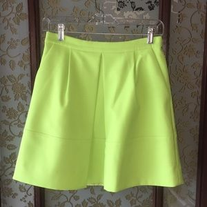 J. Crew Chartreuse Pleated Skirt with Pockets